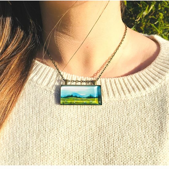Misty Day on the Mountain I Fine Art Glass Pendant Necklace
