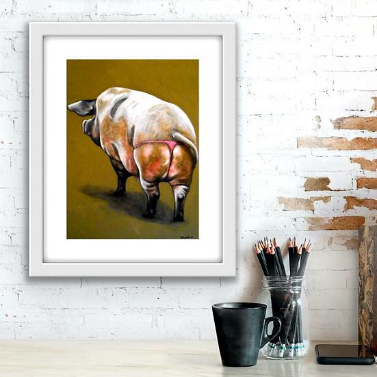 Pig in a G-String   Fine Art Print