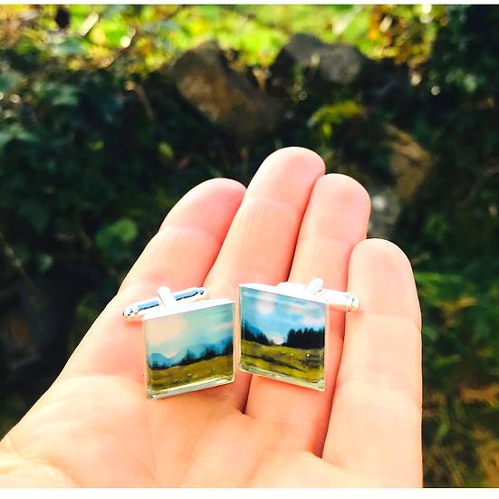 Misty Morning on the Mountain | Fine Art Glass Cufflinks