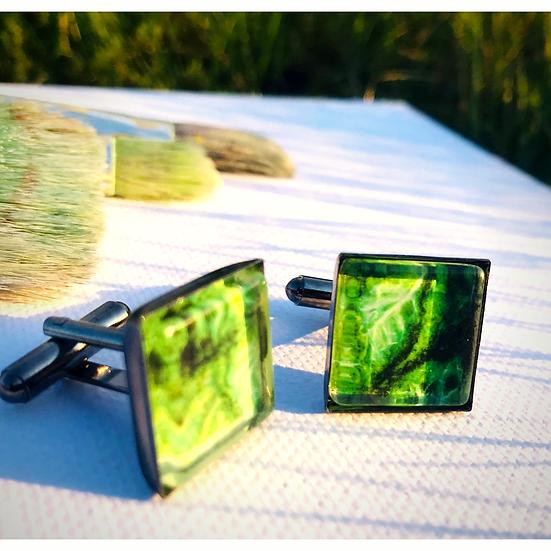 Green Cabbage | Fine Art Glass Cufflinks