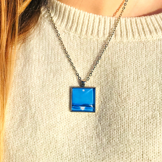 Moonlight on Galway Bay I Fine Art Glass Pendant Necklace I Smalll Square