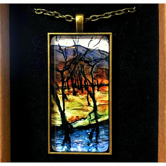 Dark Trees Along the Water I Fine Art Glass Pendant Necklace