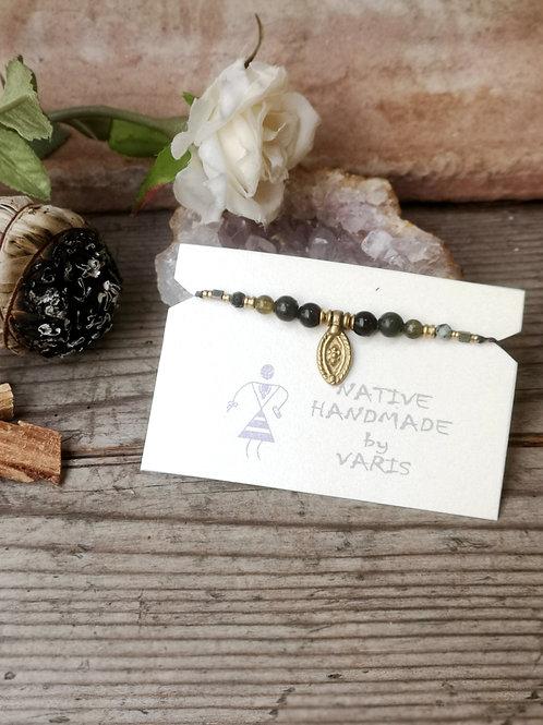 Einfaches Armband Granat-Obsidian
