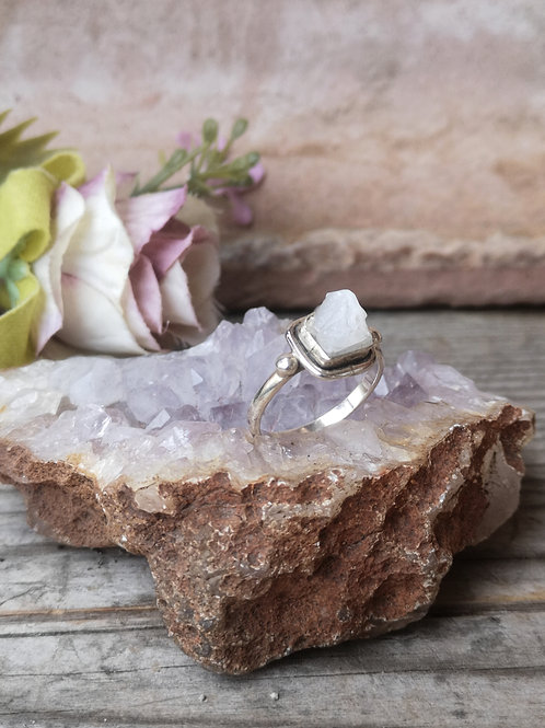 Selenit Silber Ring