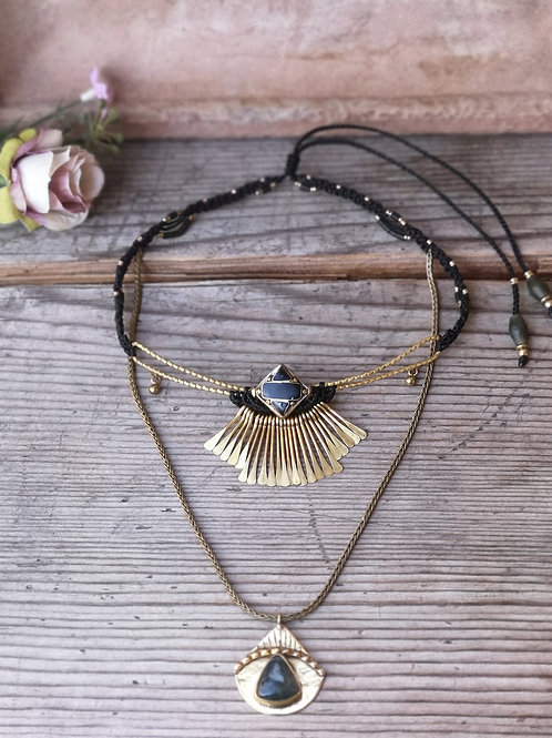 Doppelter Halskette Moosachat