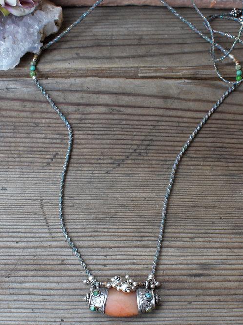 Vintage Silber Karneol Halskette