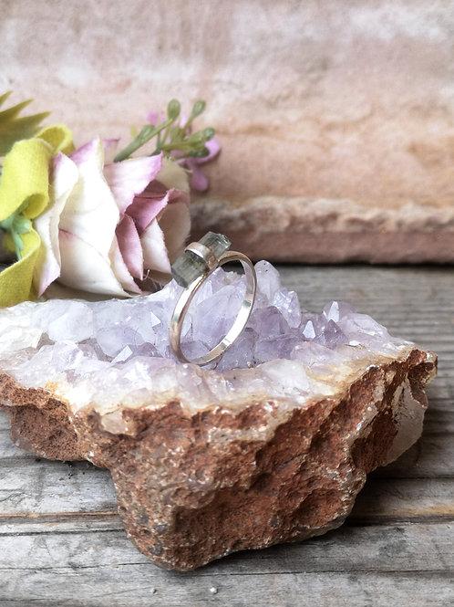 Blauer Aquamarine Silber Ring