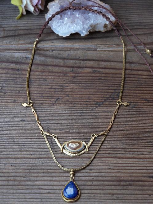 Achat-Lapis-Lazuli Halskette