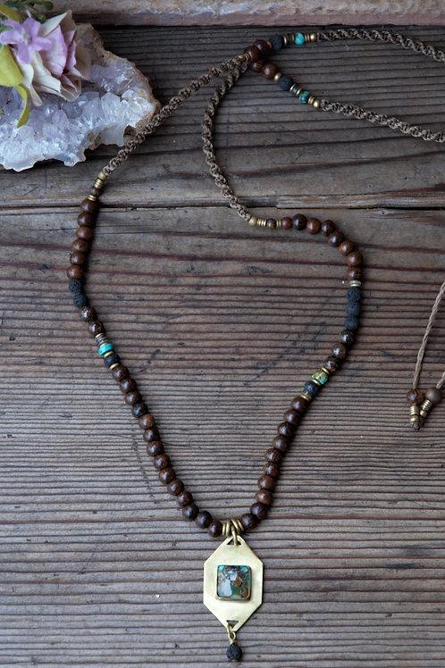 Türkis Holz Halskette
