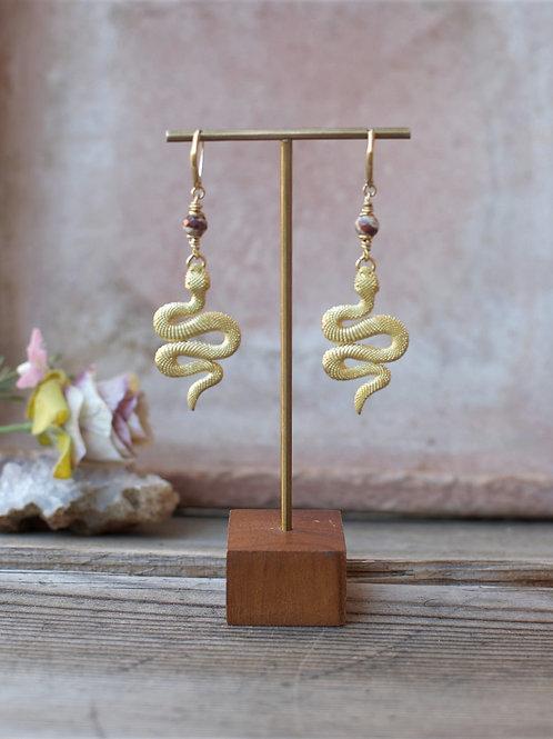 Schlangen Ohrringe Jaspis