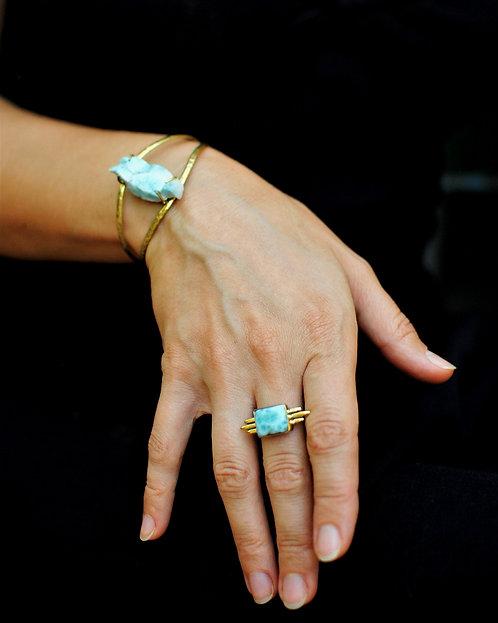 Larimar Messing Ring