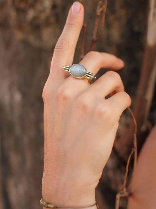 Mondstein Messing Ring