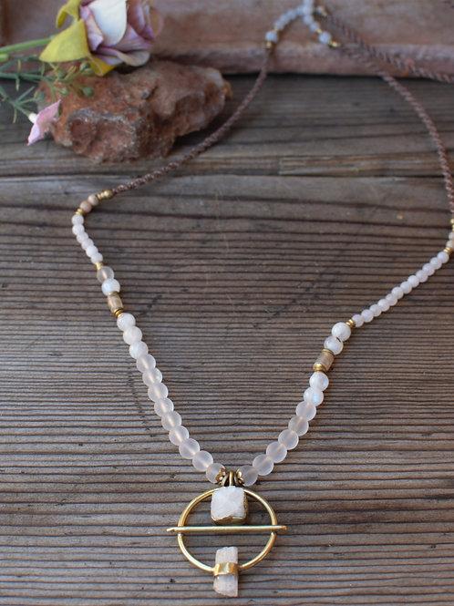 Selenit-Bergkristall Halskette