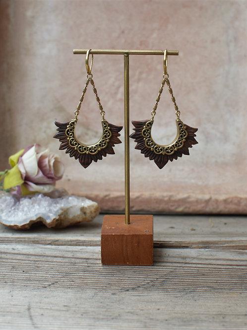 Holz-Messing Ohrringe