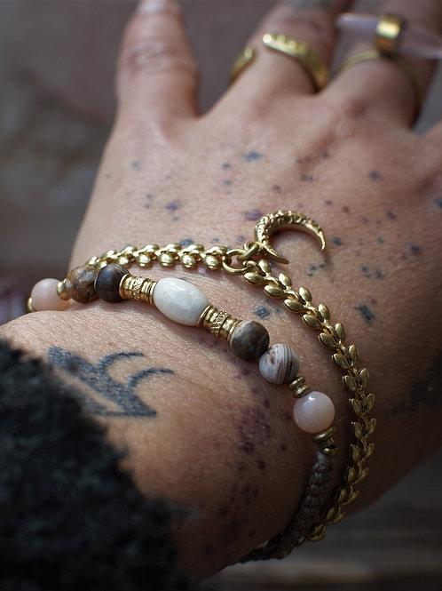Versteinertes Holz-Mondstein Armband