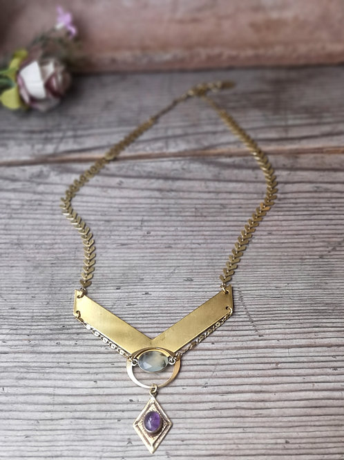 Halskette Amethyst~Moosachat