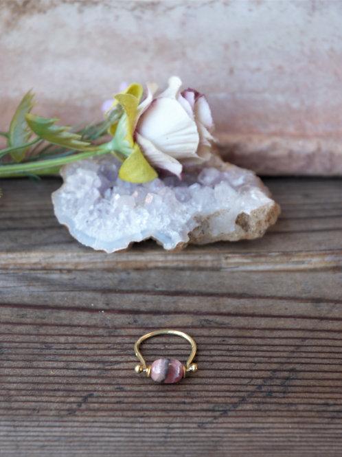 Rhodonit Messing Ring