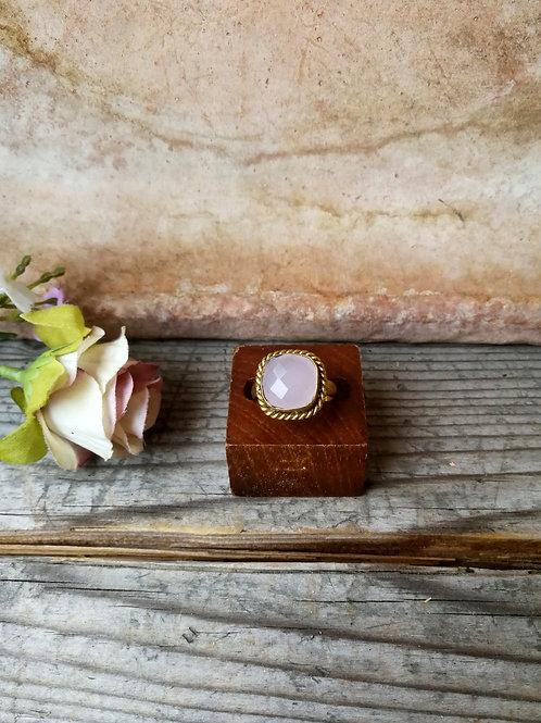 Rosenquarz Ring fassertiert