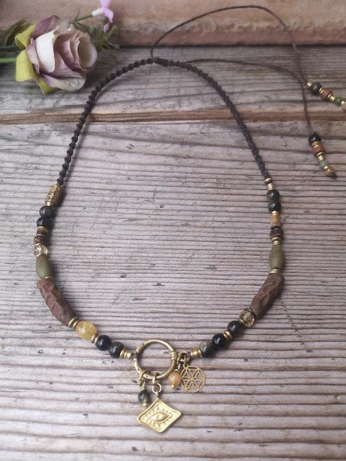 Schützendes Auge Halskette Obsidian