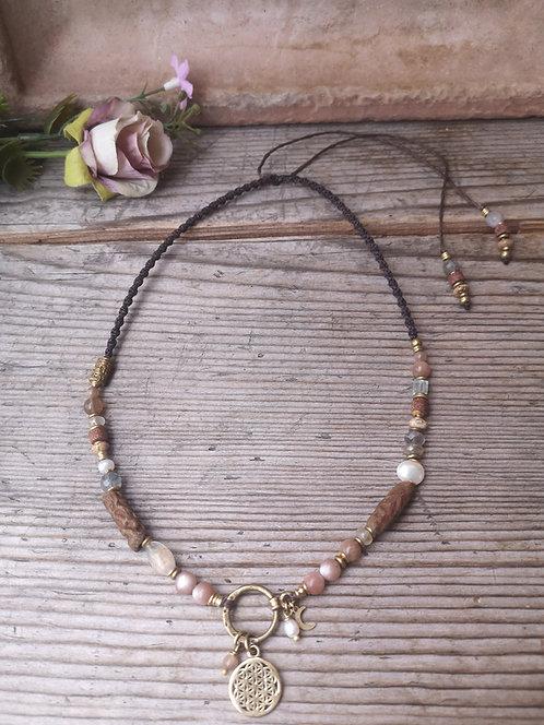 Lebensblume Halskette rosa Mondstein