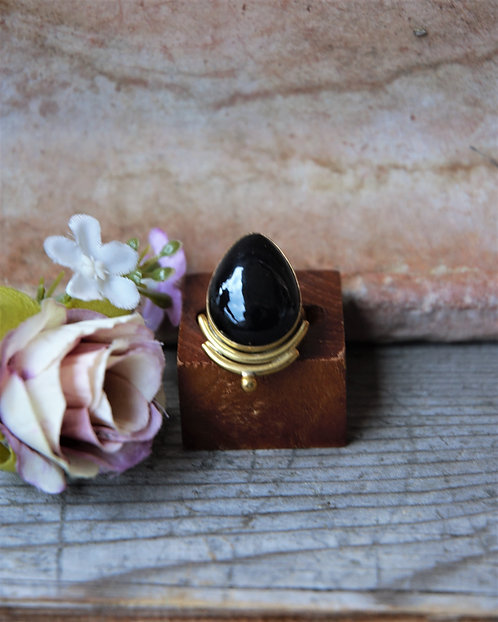 Schwarzer Obsidian Ring