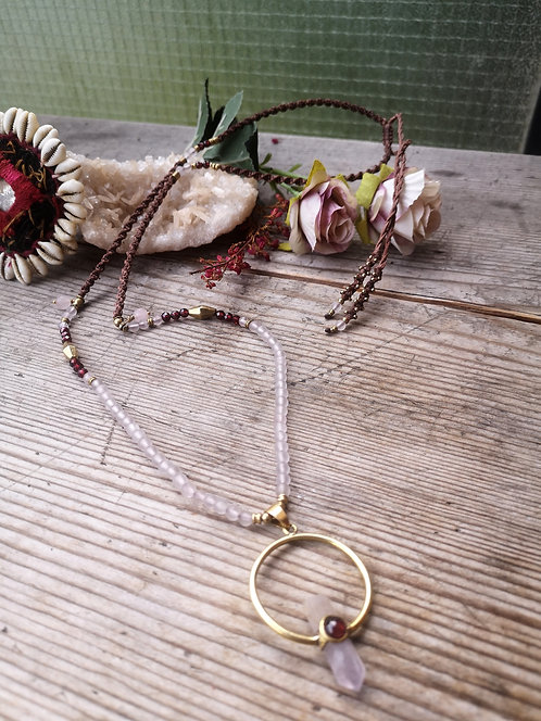 Rosenquarz Halskette