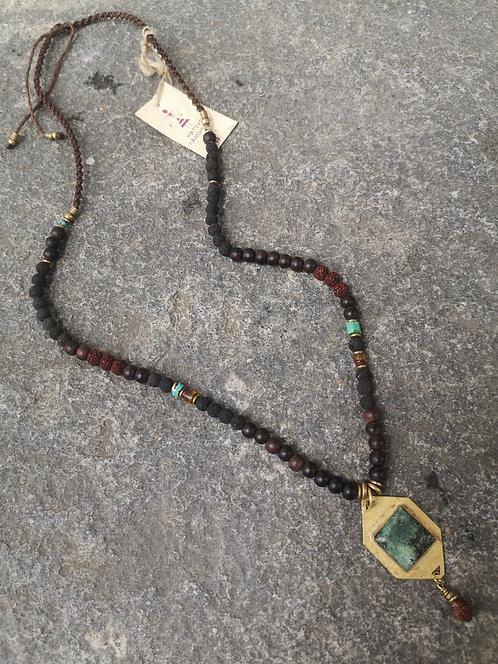 Türkis-Holz Halskette