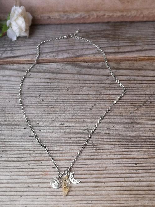 Feine Halskette Zitrin