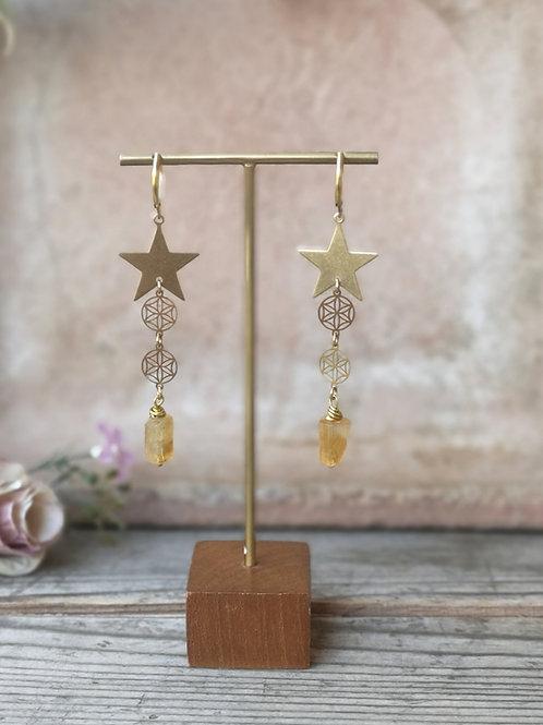 Sternen Ohrringe Zitrin