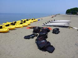 Kayaks, paddle boards & life jackets
