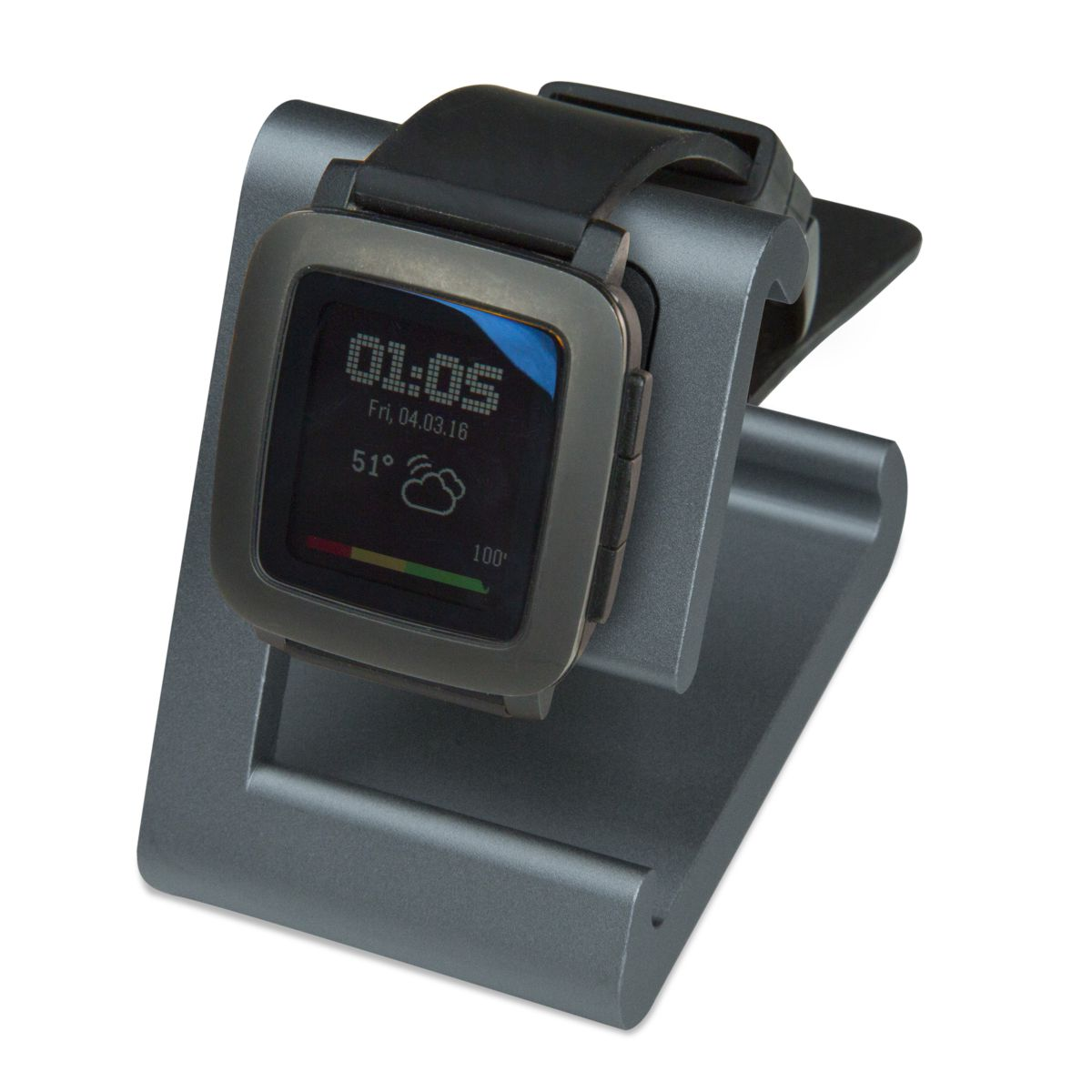 TimeDock Gunmetal charging dock with Pebble Time