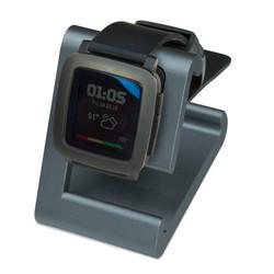 TimeDock Gunmetal charging dock with Pebble Time