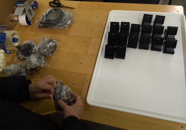 Adding the microUSB cables, and wrapping for shipping.