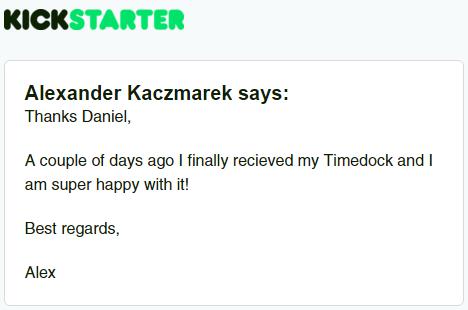Kickstarter Testimonial TimeDock 21
