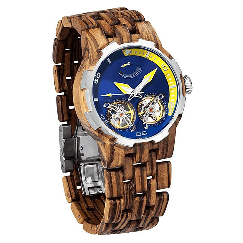 Wilds Wood Dual Wheel Automatic Zebra Wood Watch - For High End Watch Collectors