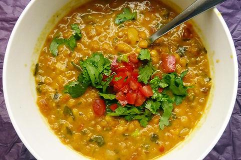 Sopa de lentejas al curry y coco, sopa de lenteja, sopa de lenteja al curry, sopa de lenteja con coco, sopa de lenteja vegetariana