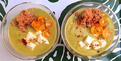 sopa fría de calabacita, sopa de calabacitas, sopa de verduras, sopa fría, sopa de atun