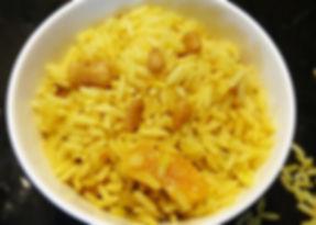arroz con frutas secas y nueces, arroz con azafrán, arroz amarillo