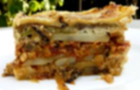 moussaka vegetariana, berenjena, berenjena con salsa de jitomate, moussaka de verdura
