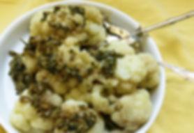 coliflor estilo italiano, coliflor, coliflor con salsa