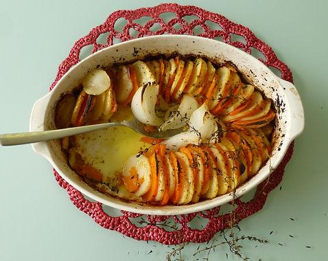 Tian de papas y camote, papas al horno, camote al horno, papa, camote, plato acompañante, platillo vegetariano