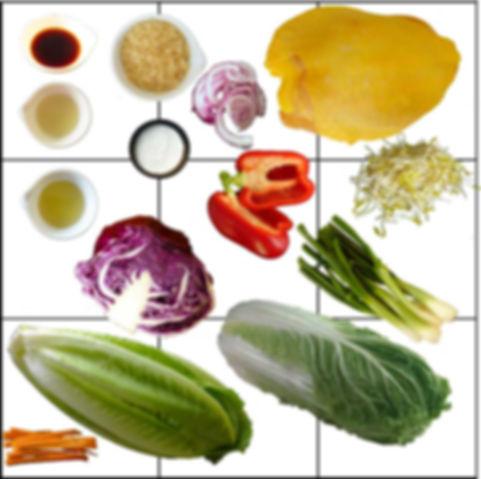 Rollos asiáticos de pollo y vegetales