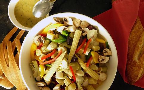 antipasto, entrada, ensalada, verduras enlatadas, alcachofas, palmito, elote, aceitunas, champiñon, verduras, vinagreta