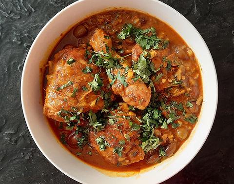 estofado marroquí de pollo, estofado de pollo, pollo en salsa, pollo, platillo fuerte, platillo principal