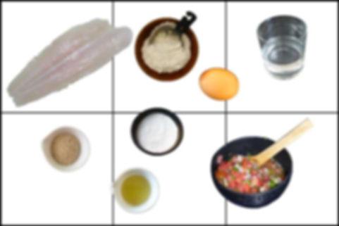 Filete de pescado empanizado con salsa mexicana, pescado empanizado,