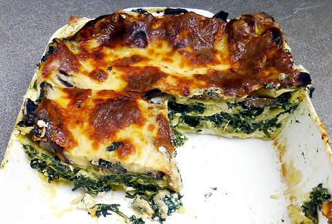 lasaña de espinacas y champiñones, lasaña con verduras, lasaña vegetariana