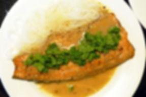 filete de trucha estilo thai, salsa tai, salsa thai, filete de pescado en salsa, filete de trucha en salsa thai