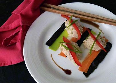 Quenelles de cangrejo una entrada colorida con laminitas de verduras, entrada de cangrejo, receta con cangrejo