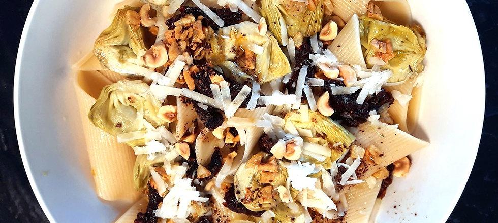 Pasta con alcachofa