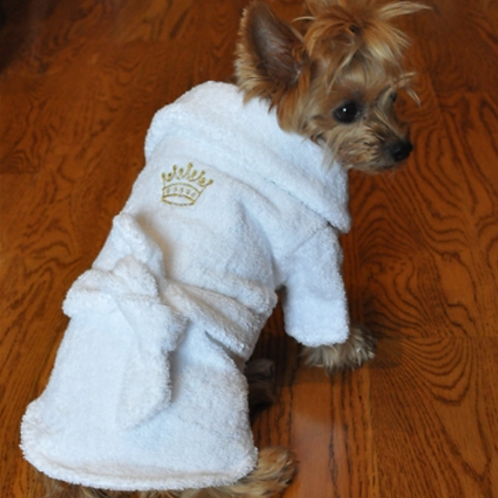 Golden Crown Embroidered Terry Cloth  Bathrobe